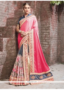 Entrancing Patch Border Work Faux Crepe Lehenga Saree