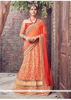 Vivid Patch Border Work Orange Lehenga Saree