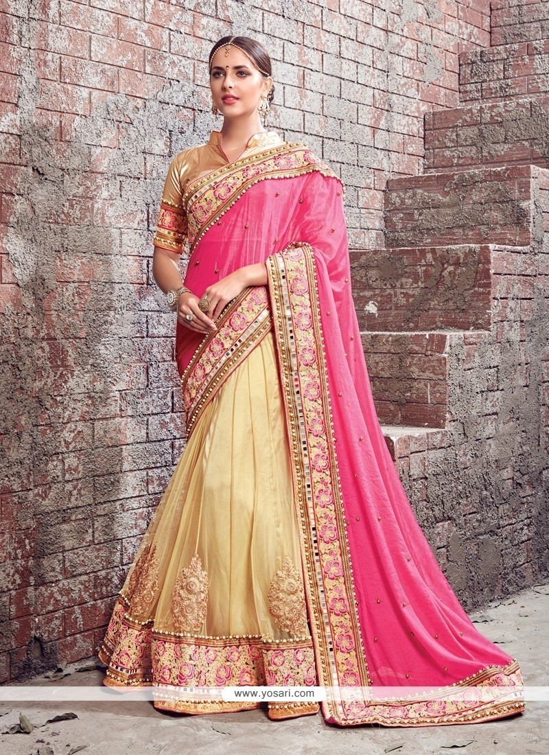 Beige And Rose Pink Patch Border Work Net Lehenga Saree
