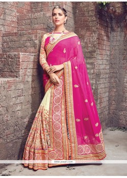 Latest Embroidered Work Hot Pink Georgette Lehenga Saree