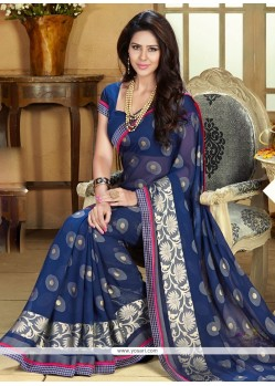 Luxurious Blue Jacquard Party Wear Saree