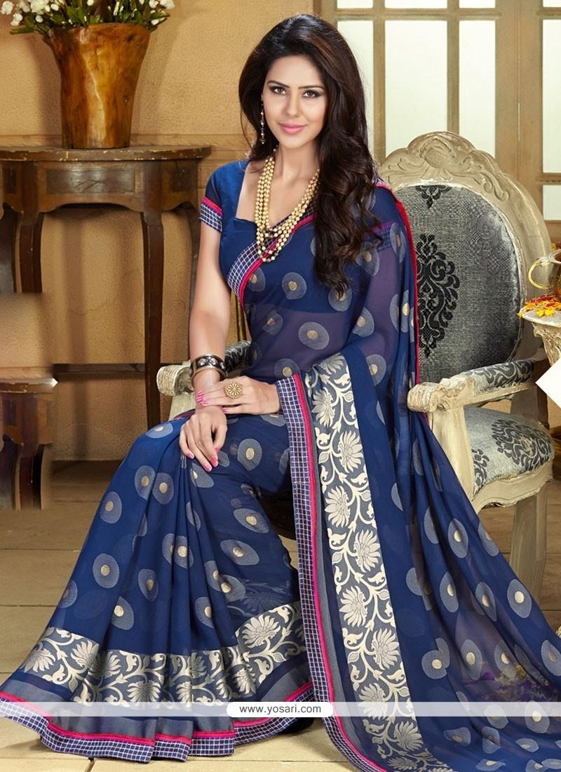 Luxurious Blue Jacquard Party Wear Saree