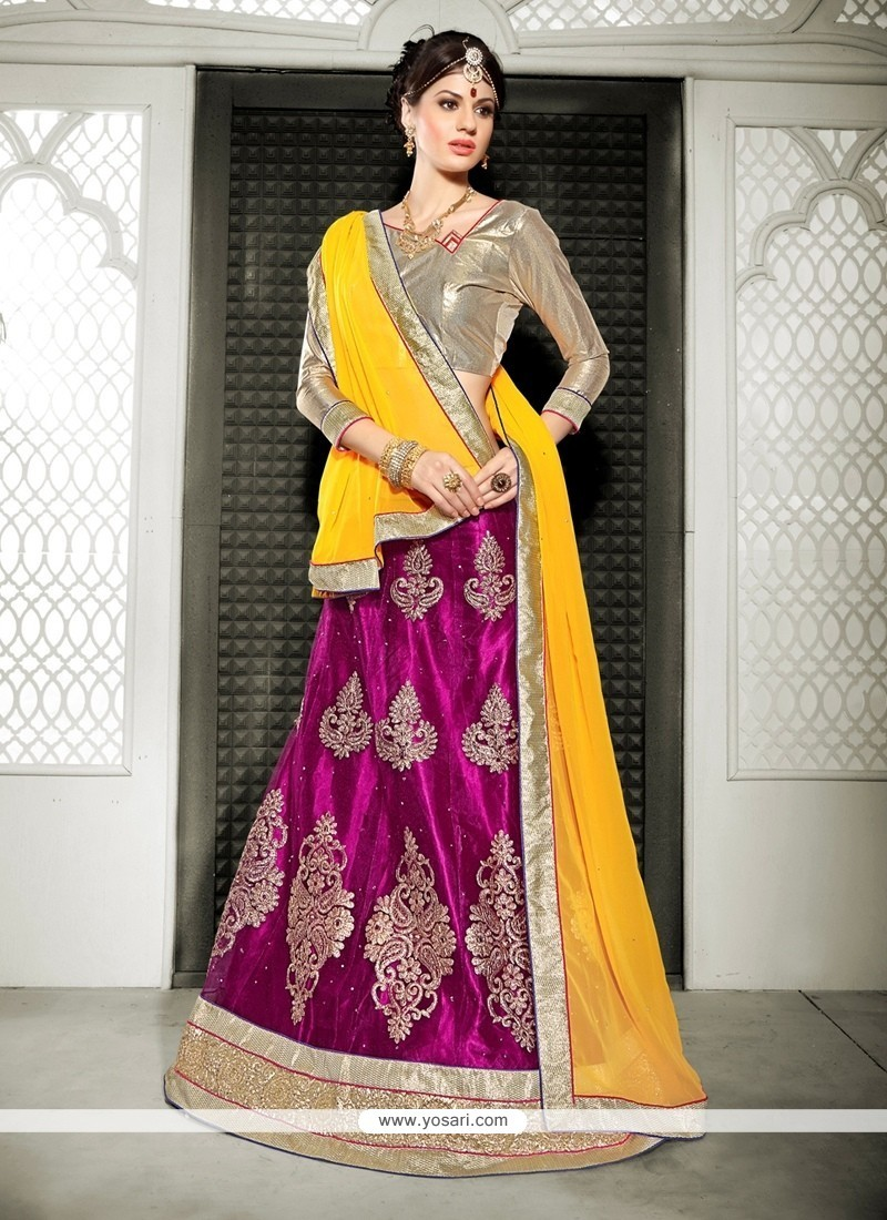 Aristocratic Magenta Embroidered Work Net A Line Lehenga Choli