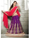 Staring Purple Embroidered Work Net A Line Lehenga Choli