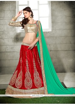 Sparkling Embroidered Work Net A Line Lehenga Choli