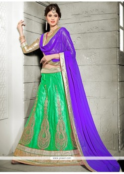 Voguish Net Embroidered Work A Line Lehenga Choli