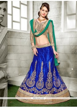 Fashionable Net Patch Border Work A Line Lehenga Choli