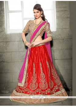 Catchy Red Patch Border Work Net A Line Lehenga Choli