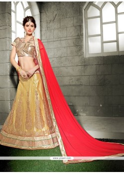 Best Net Gold A Line Lehenga Choli