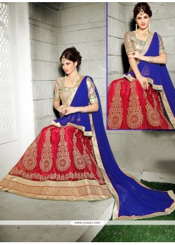 Savory Red Embroidered Work Net A Line Lehenga Choli