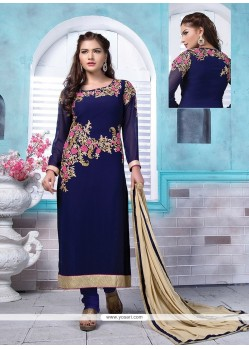 Brilliant Resham Work Navy Blue Georgette Churidar Designer Suit