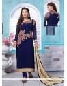 Brilliant Resham Work Navy Blue Georgette Churidar Designer Suit