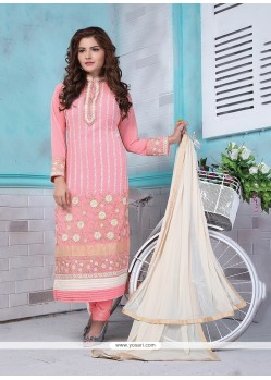 Majesty Resham Work Georgette Pink Churidar Designer Suit