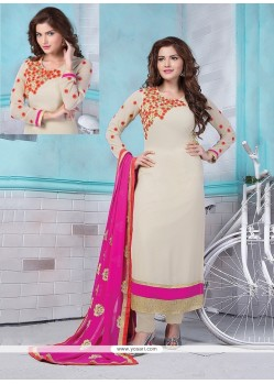 Astonishing Off White Georgette Churidar Designer Suit