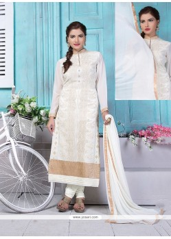 Cute Lace Work Churidar Designer Suit