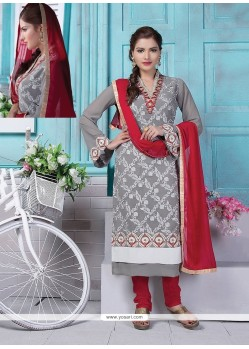 Flawless Georgette Grey Lace Work Churidar Designer Suit