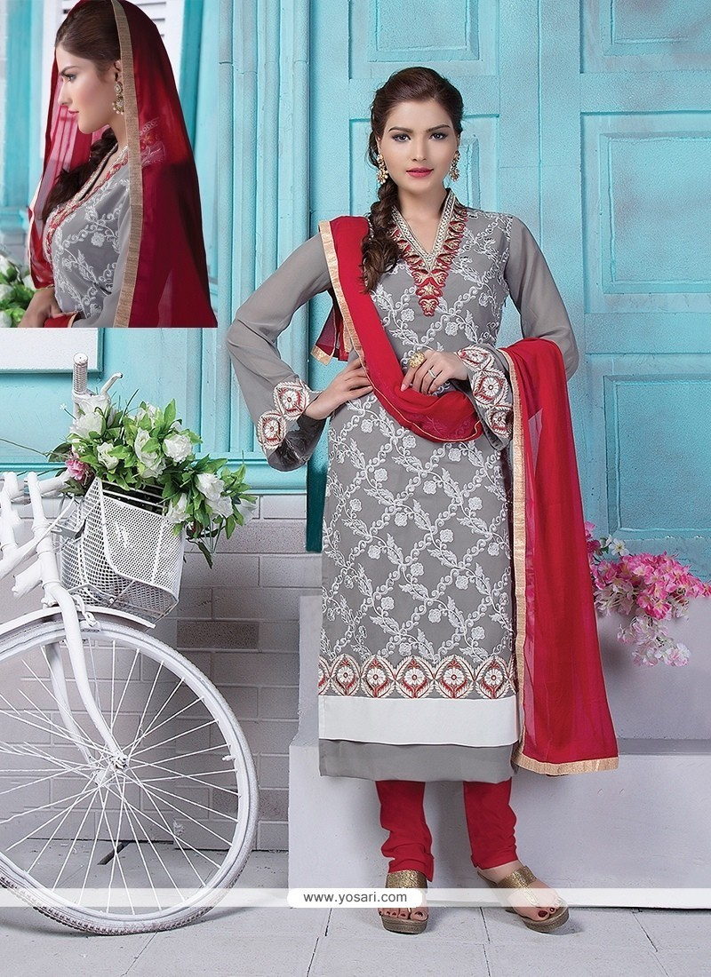 Flawless Georgette Grey Lace Work Churidar Designer Suit
