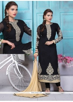 Artistic Embroidered Work Black Georgette Churidar Designer Suit