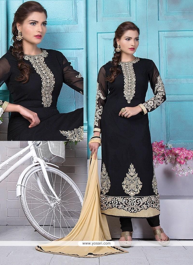 Artistic Embroidered Work Black Georgette Churidar Designer Suit