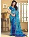 Fabulose Blue Faux Chiffon Saree