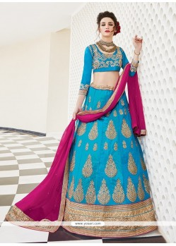 Phenomenal Patch Border Work Silk A Line Lehenga Choli