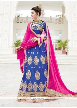 Incredible Silk Blue A Line Lehenga Choli