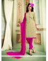 Dignified Chanderi Cotton Beige Churidar Designer Suit
