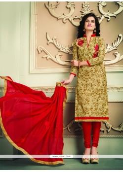Ethnic Beige Embroidered Work Chanderi Cotton Churidar Designer Suit