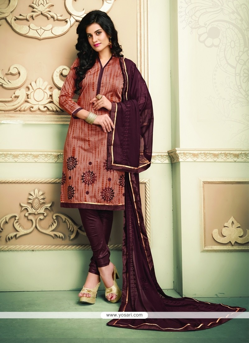 Aspiring Embroidered Work Chanderi Cotton Churidar Designer Suit