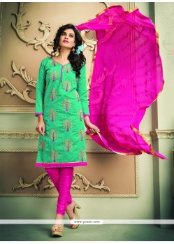 Lace Chanderi Cotton Churidar Designer Suit In Sea Green
