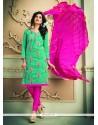 Lace Chanderi Cotton Churidar Designer Suit In Sea Green