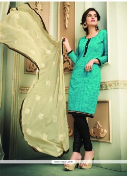 Jazzy Sea Green Chanderi Cotton Churidar Designer Suit