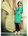 Jazzy Sea Green Chanderi Cotton Churidar Designer Suit