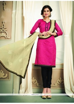 Royal Hot Pink Lace Work Chanderi Cotton Churidar Designer Suit