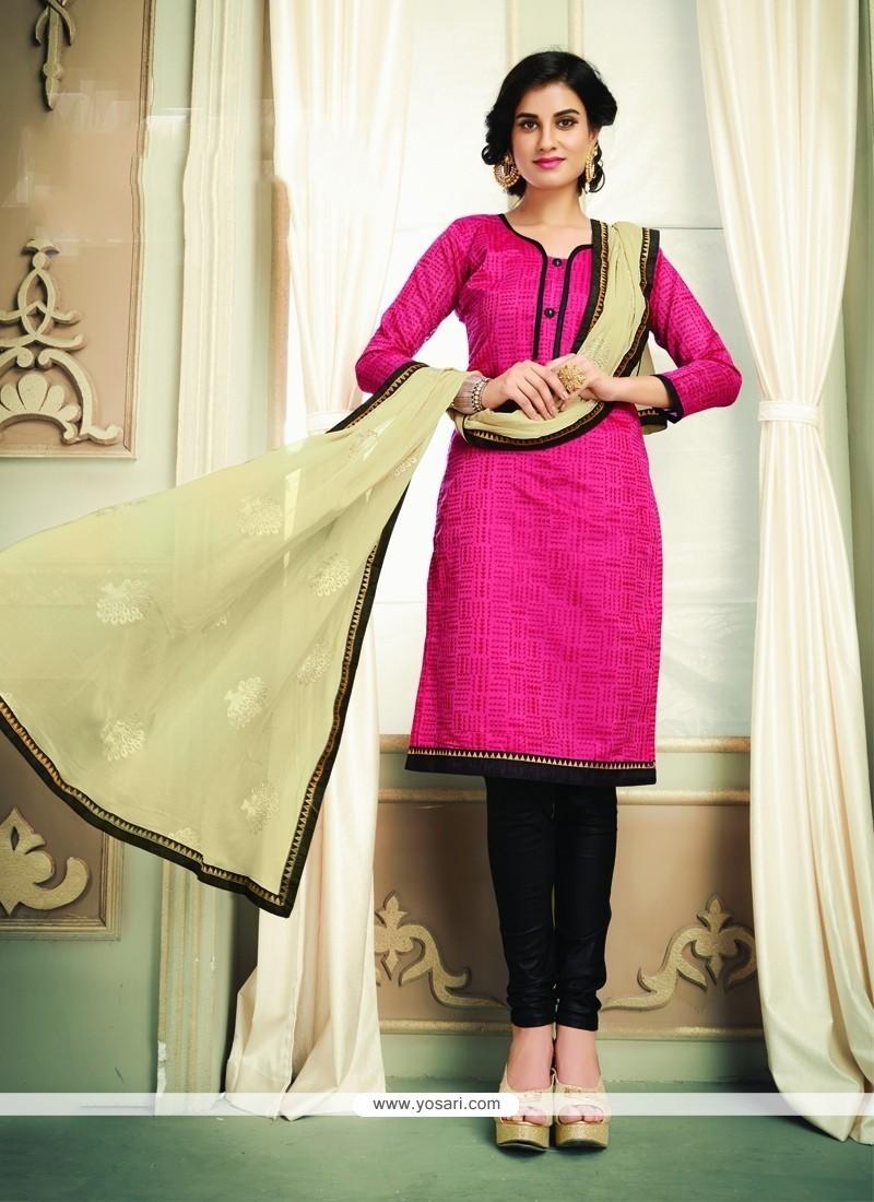 Royal Hot Pink Lace Work Chanderi Cotton Churidar Designer Suit
