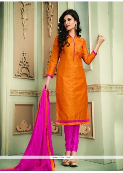 Orange Chanderi Cotton Churidar Designer Suit