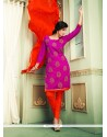 Capricious Embroidered Work Magenta Chanderi Cotton Churidar Designer Suit