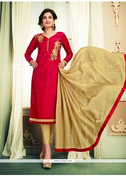 Eye-catchy Chanderi Cotton Red Embroidered Work Churidar Designer Suit