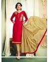 Eye-catchy Chanderi Cotton Red Embroidered Work Churidar Designer Suit