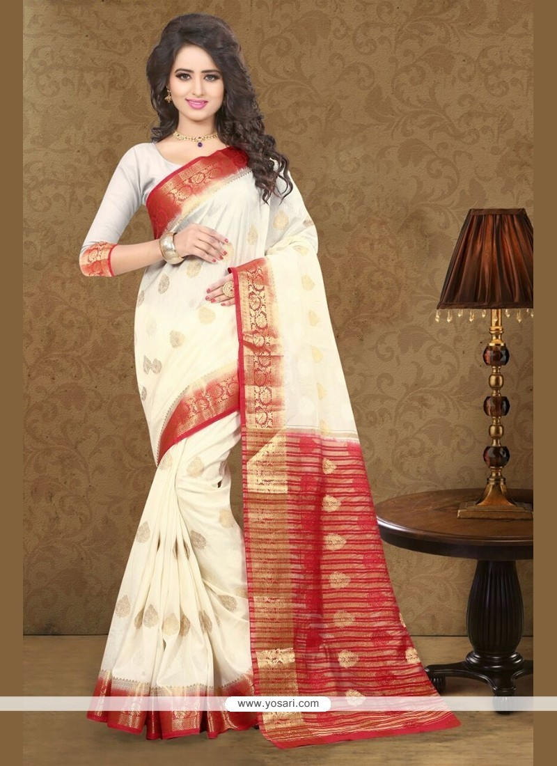 Stunning Art Silk Off White Classic Saree