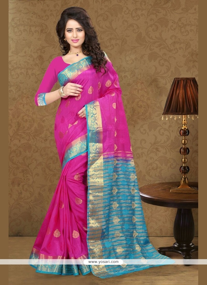 Engrossing Art Silk Magenta Traditional Saree