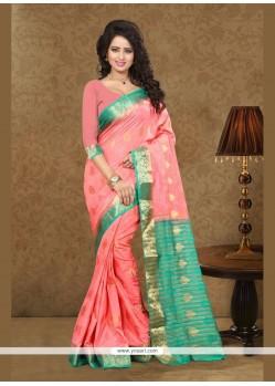Regal Art Silk Rose Pink Trendy Saree