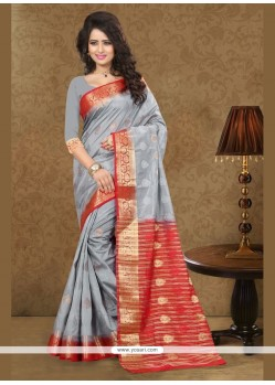 Competent Patch Border Work Grey Art Silk Traditional Saree