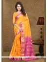 Floral Orange Art Silk Classic Saree