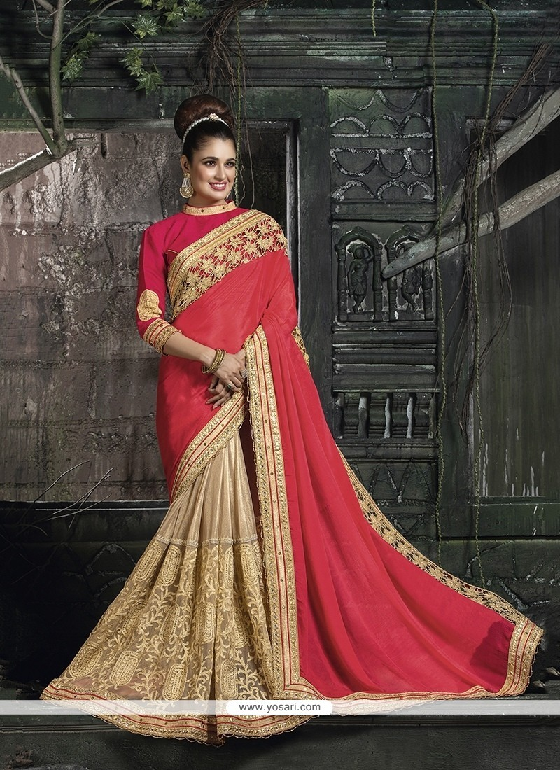 Engrossing Beige Faux Chiffon Traditional Saree