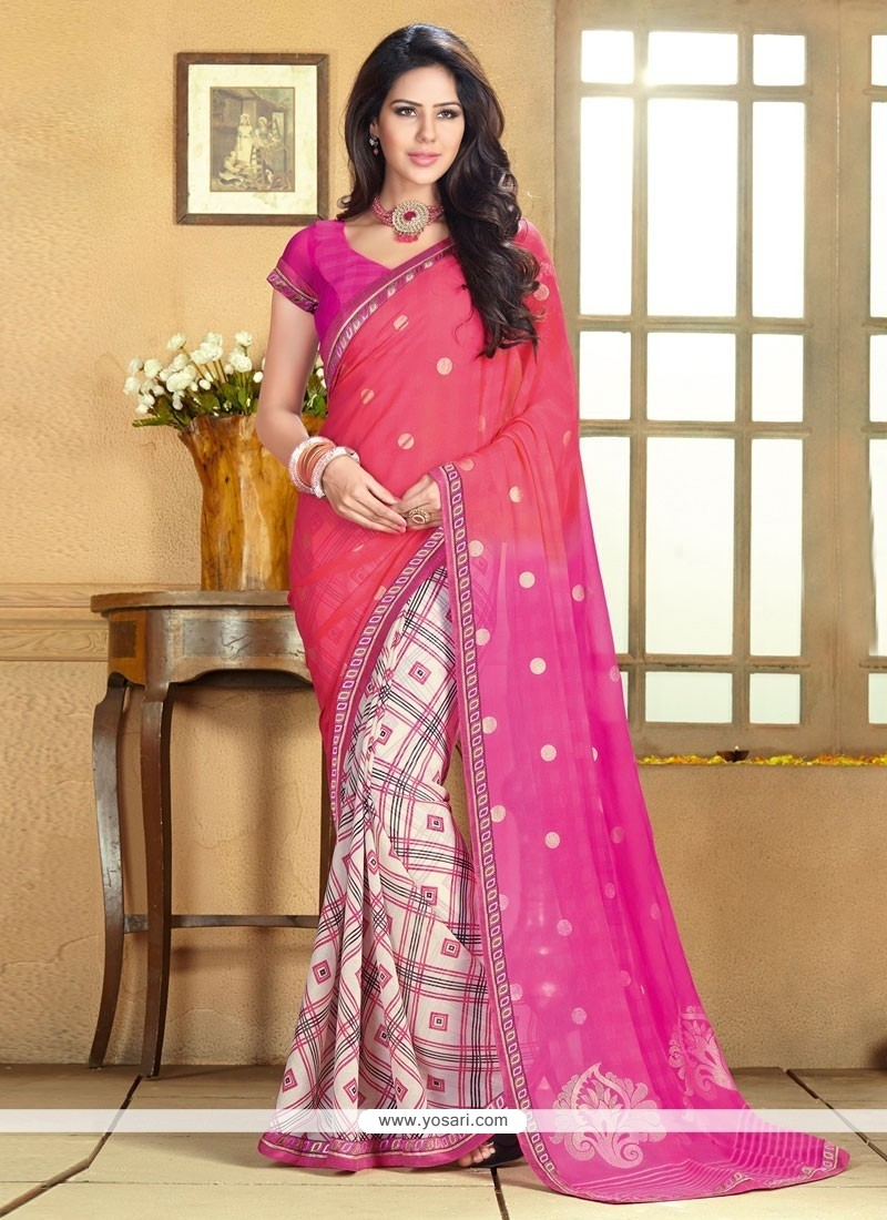 Off White And Pink Chiffon Saree