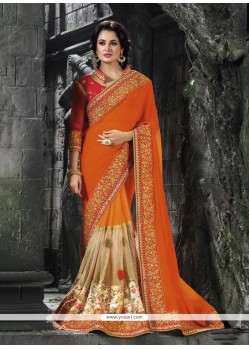 Modernistic Faux Chiffon Orange Patch Border Work Classic Designer Saree