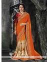 Modernistic Faux Chiffon Orange Patch Border Work Classic Designer Saree