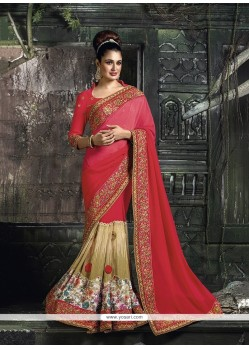 Beautiful Georgette Hot Pink Designer Traditional Sarees