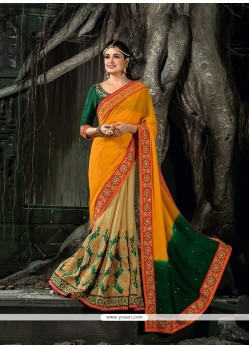 Versatile Patch Border Work Multi Colour Classic Designer Saree